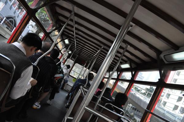 В двухэтажном трамвае