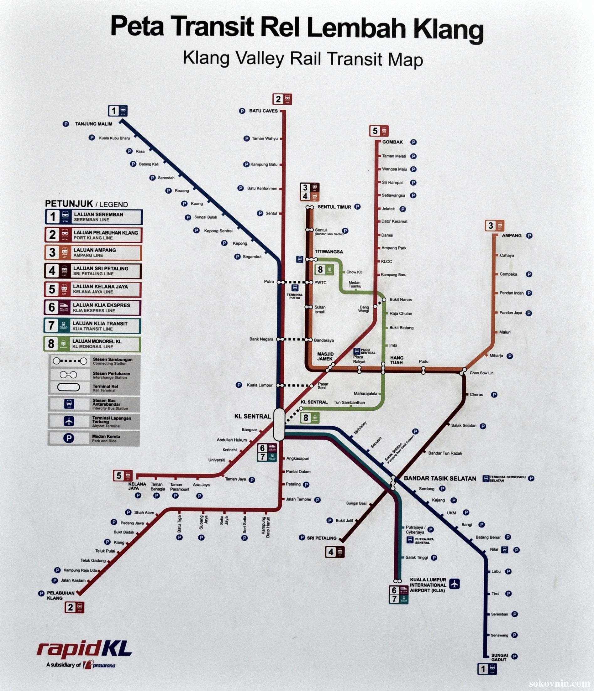 Карта метро в Куала-Лумпуре