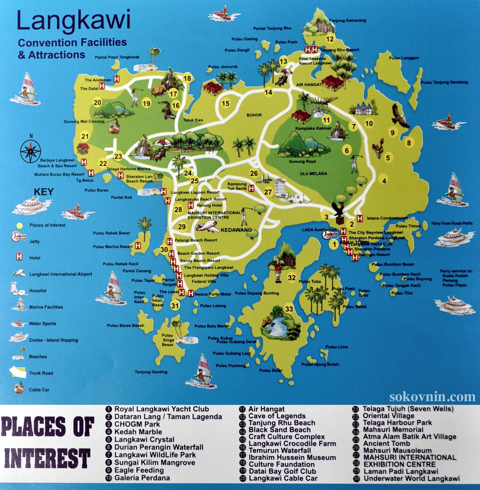 Карта достопримечательностей Лангкави