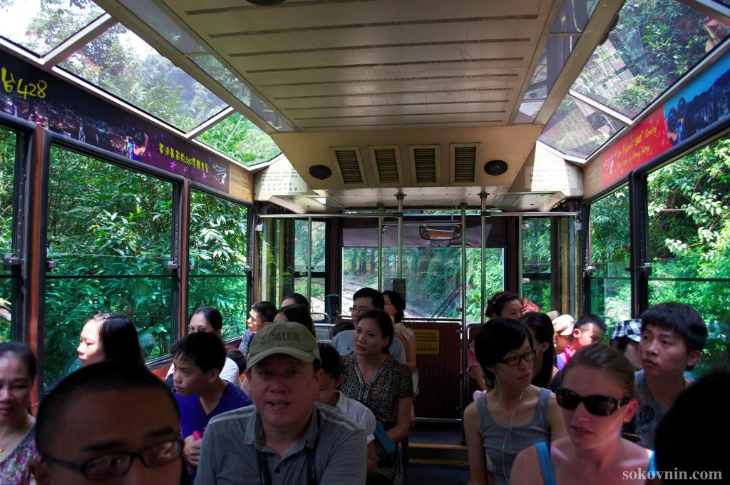 Поездка в Трамвае на Пик Виктории в Гонконге