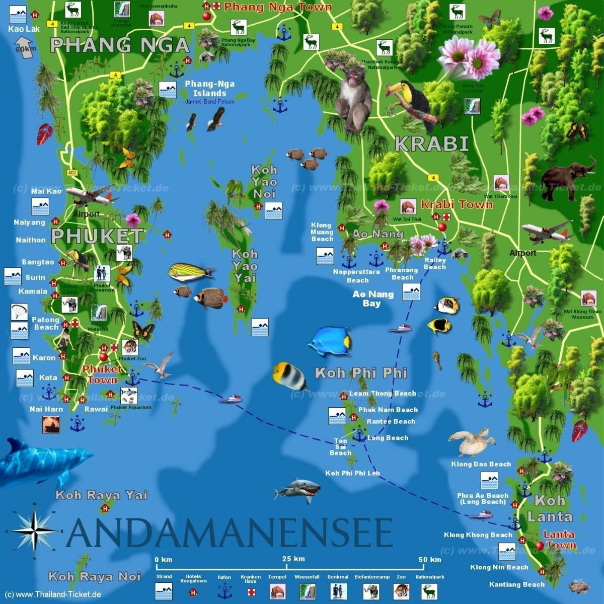 Карта Пхукет Краби