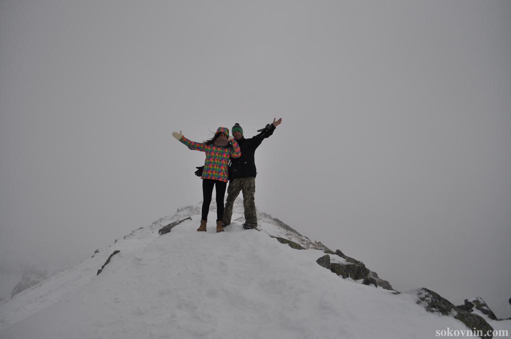 Мы на вершине горы Каспровы верх