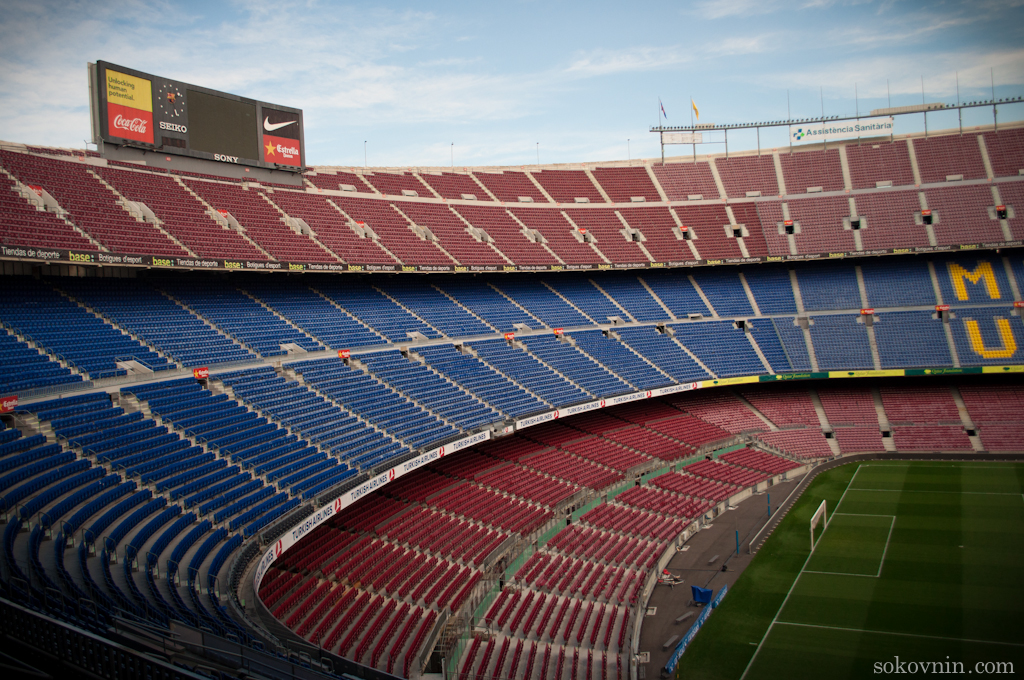 Трибуны на стадионе Камп Ноу в Барселоне