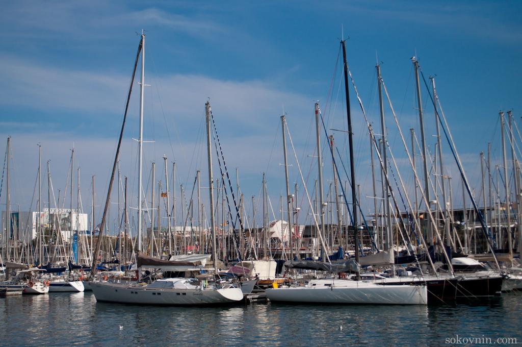 Яхты на набережной Барселоны