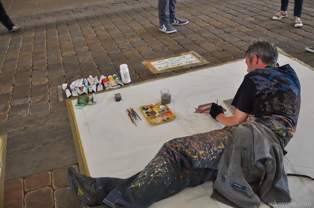 Уличный художник в Англии