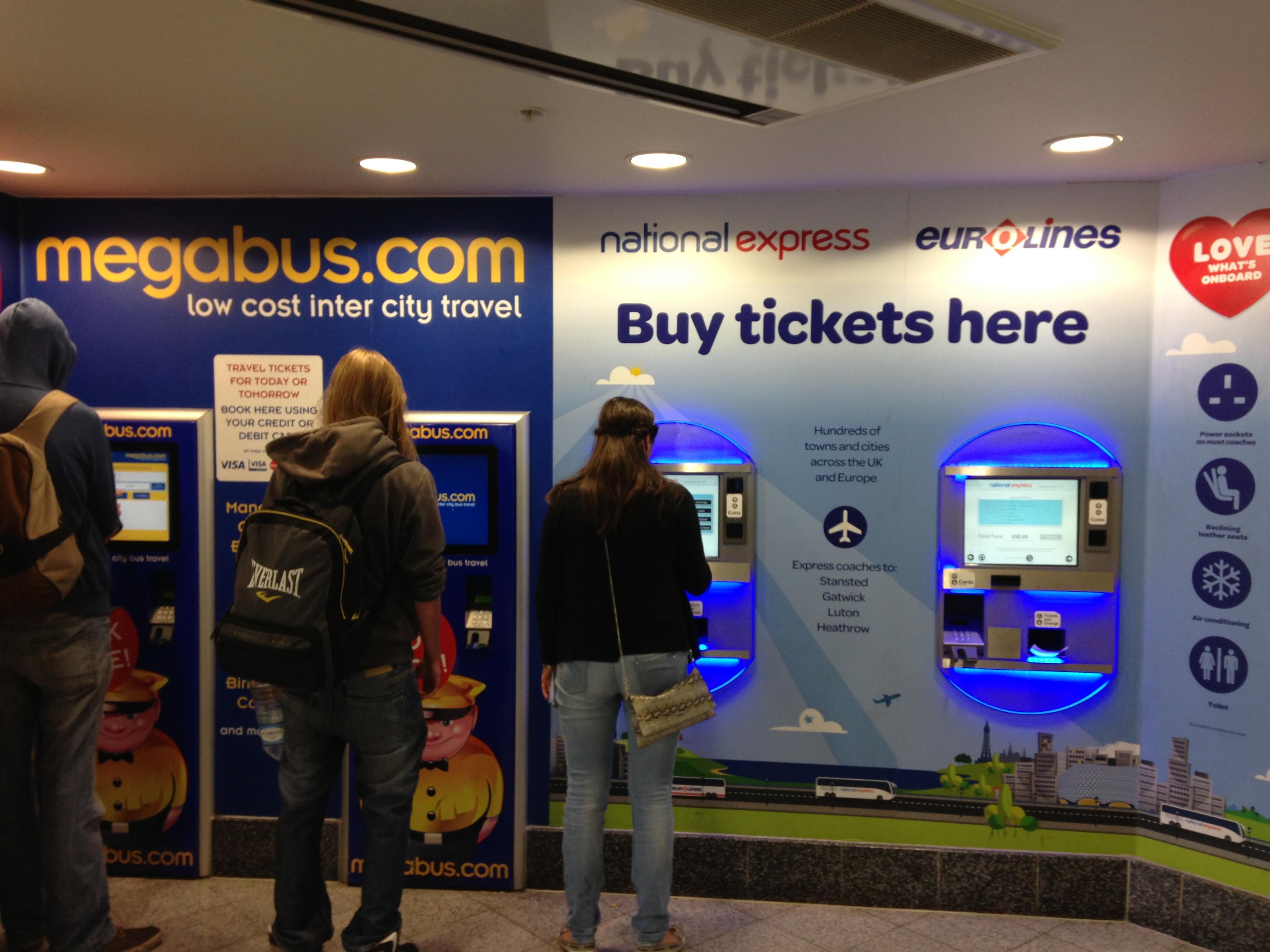 Автомат по продаже билетов на Megabus