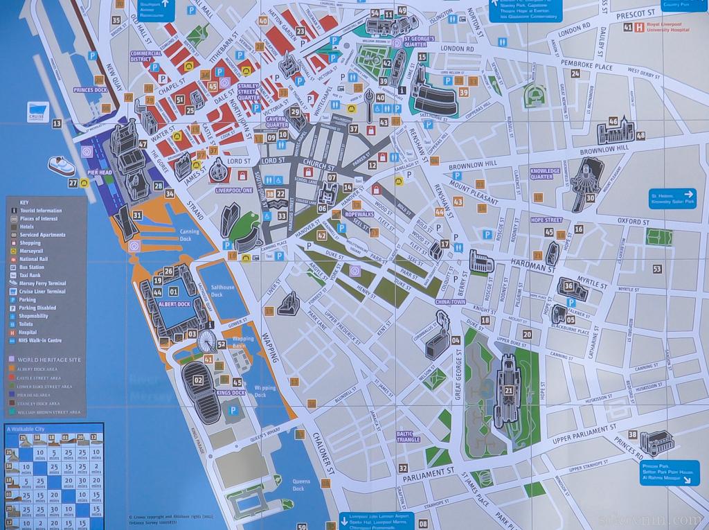 Карта центра Ливерпуля