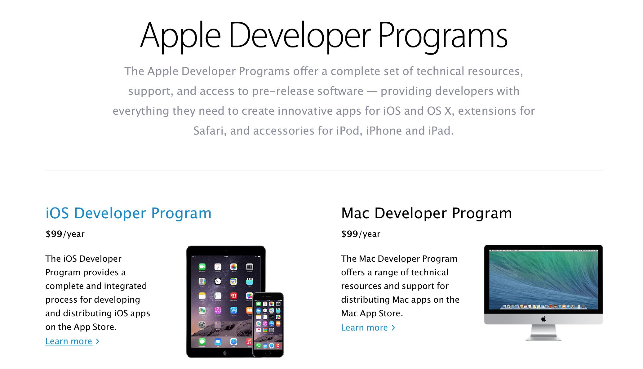 Регистрация в качестве разработчика Apple