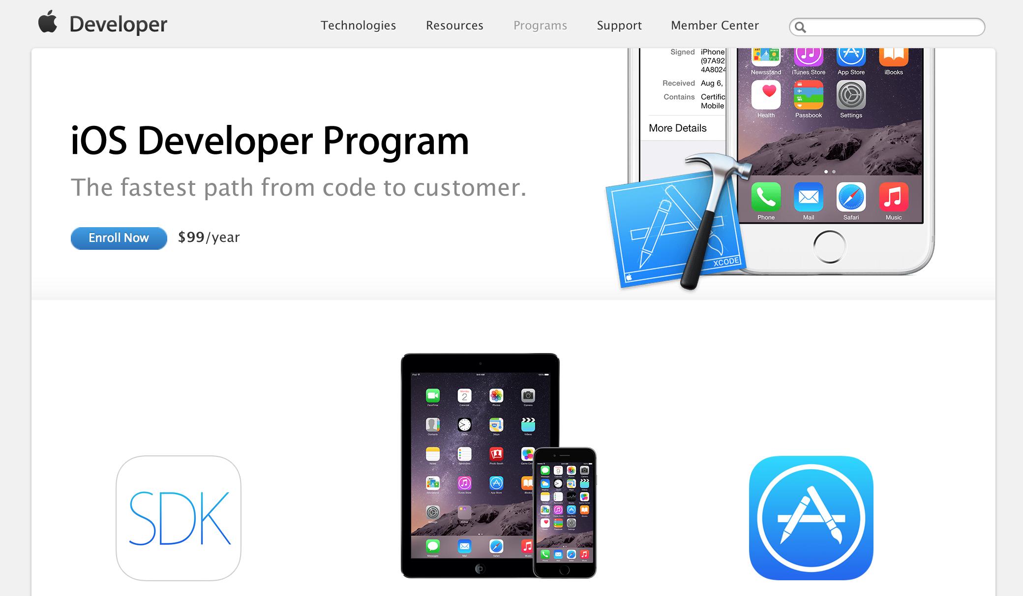 Регистрация на сайте Apple в качестве разработчика