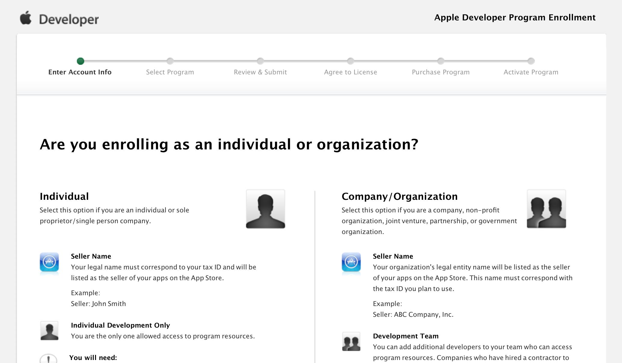 Регистрация в качестве Apple разработчика