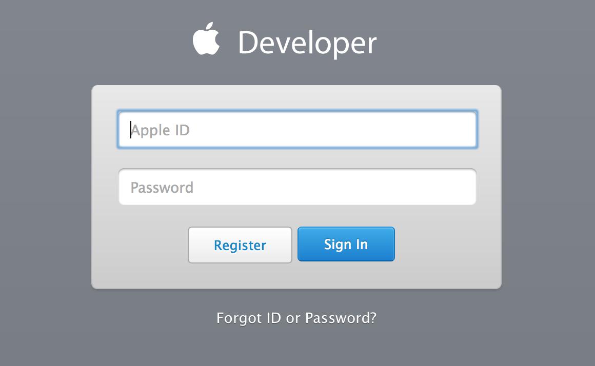 Авторизация разработчика на сайте Apple