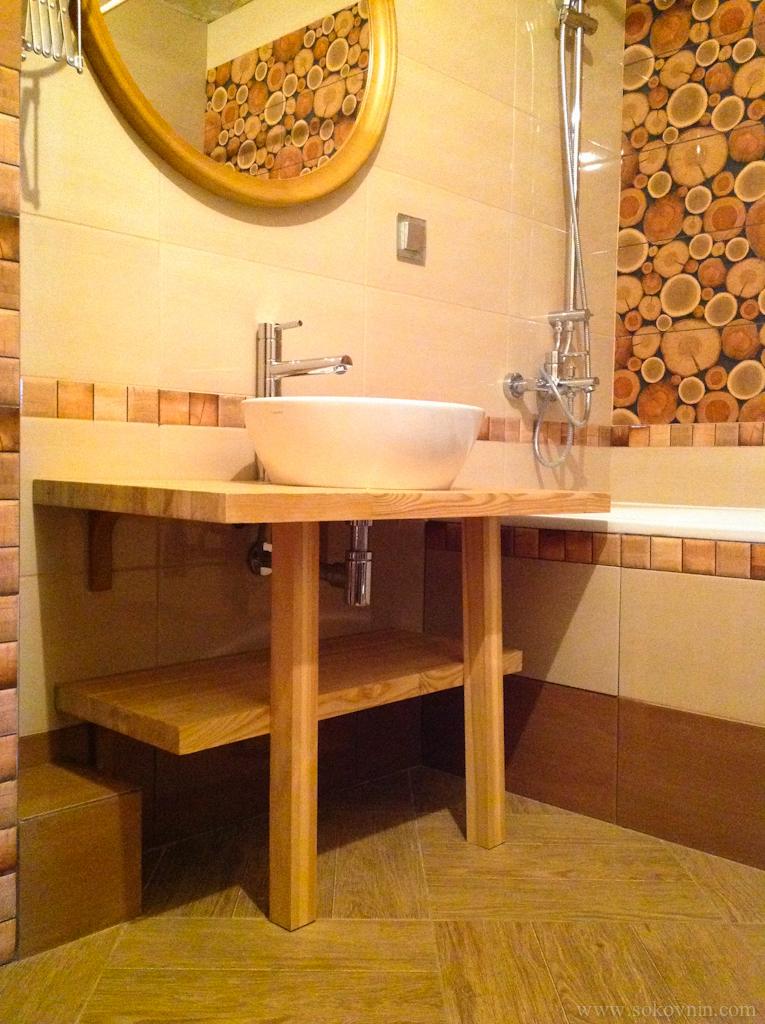 Деревянная столешница для раковины в ванной